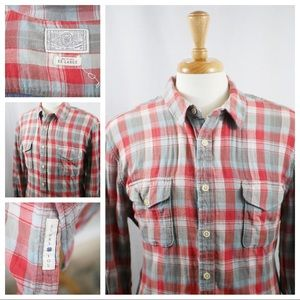 Lucky Brand Plaid Button Down Shirt Red/Blue